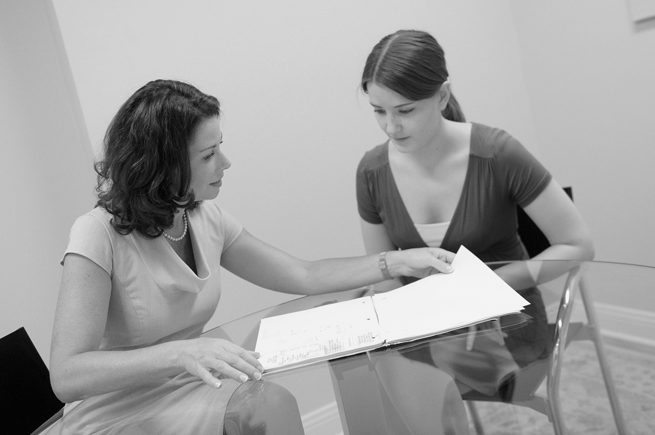 Divorce Attorney with client - BW image - Shannon Corallo