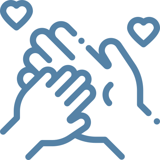 hands holding and hearts icon
